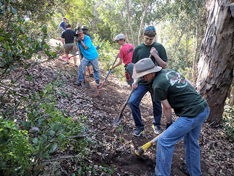 Trail building at Camp Balboa